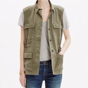 Madewell Oversized Olive Green Cargo Vest Small